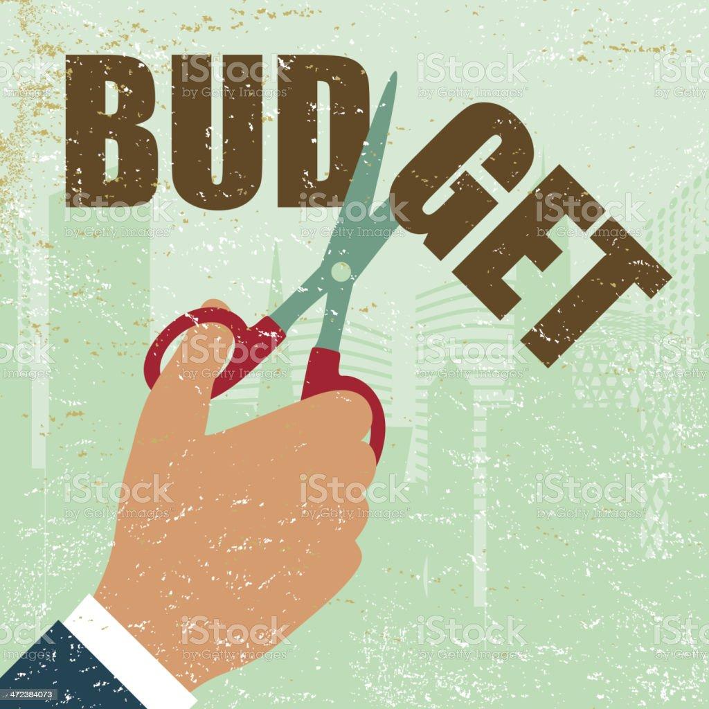 Budget business company money economy reduction cutting vector art illustration