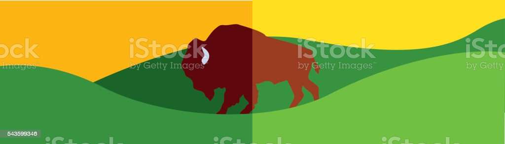 Buffalo on the Great Plains vector art illustration