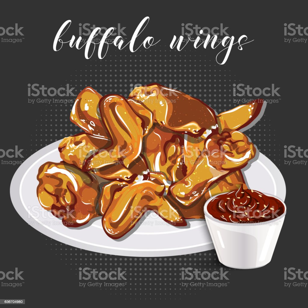 Buffalo wings and barbecue sauce on a grey background. vector art illustration
