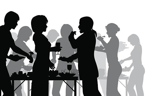 Repas entre amis vecteurs et illustrations libres de for Lunch entre amis