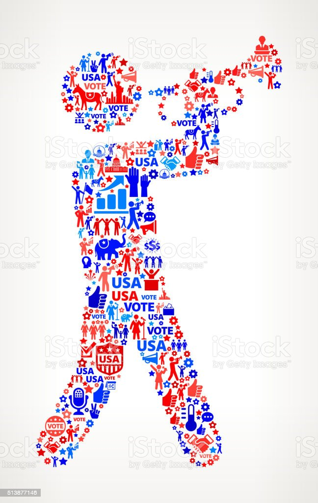 Bugle Vote and Elections USA Patriotic Icon Pattern vector art illustration