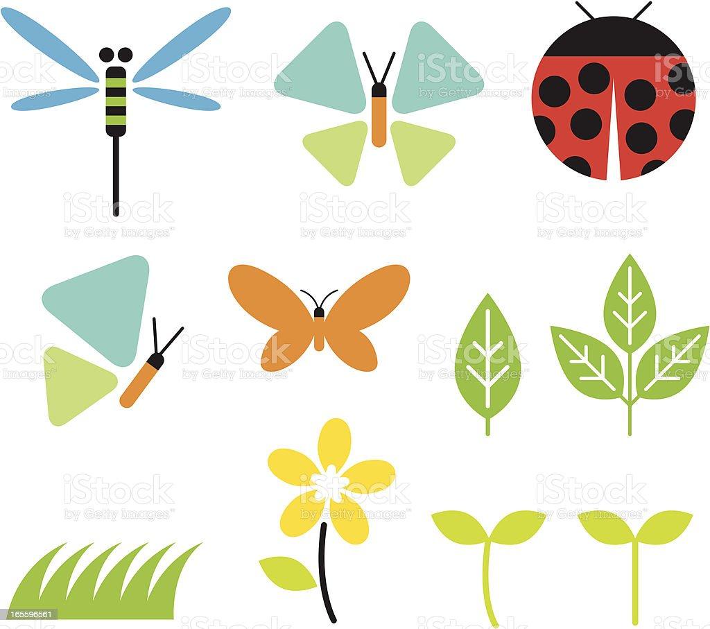 Bugs and Garden vector art illustration