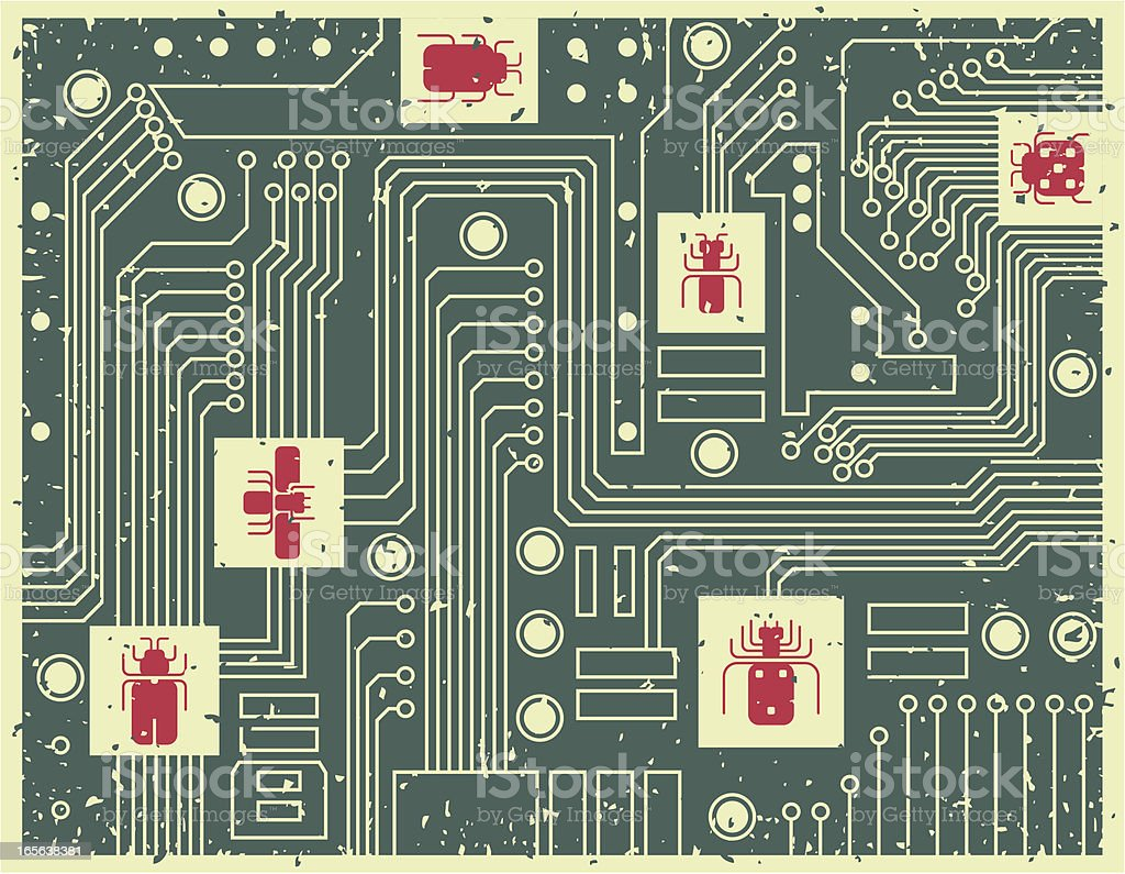 bugs in circuit board royalty-free stock vector art