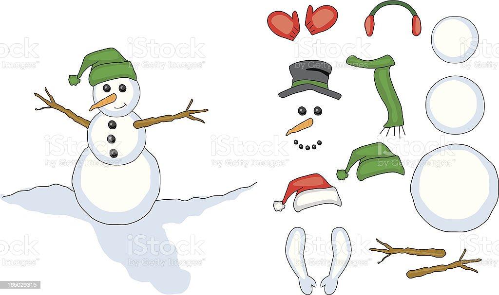 Build a snowman vector art illustration