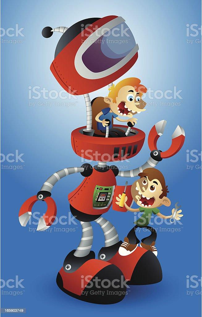 Build Robot vector art illustration