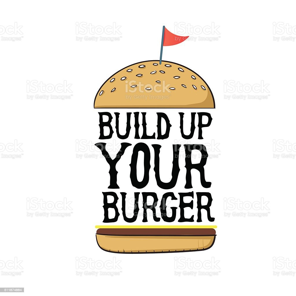 Build up your burger vector art illustration