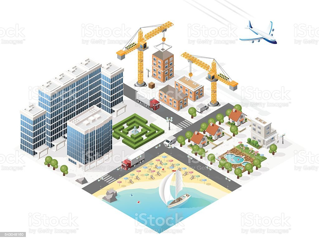 Build Your Own Isometric City. Vector Elements. vector art illustration