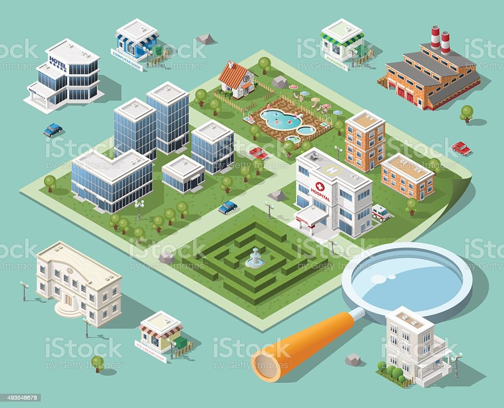 Build Your Own Isometric City. vector art illustration