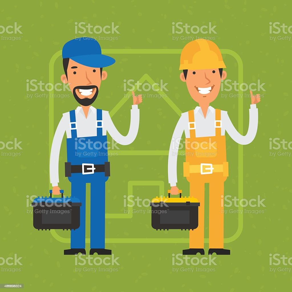 Builder and repairman show thumbs up vector art illustration