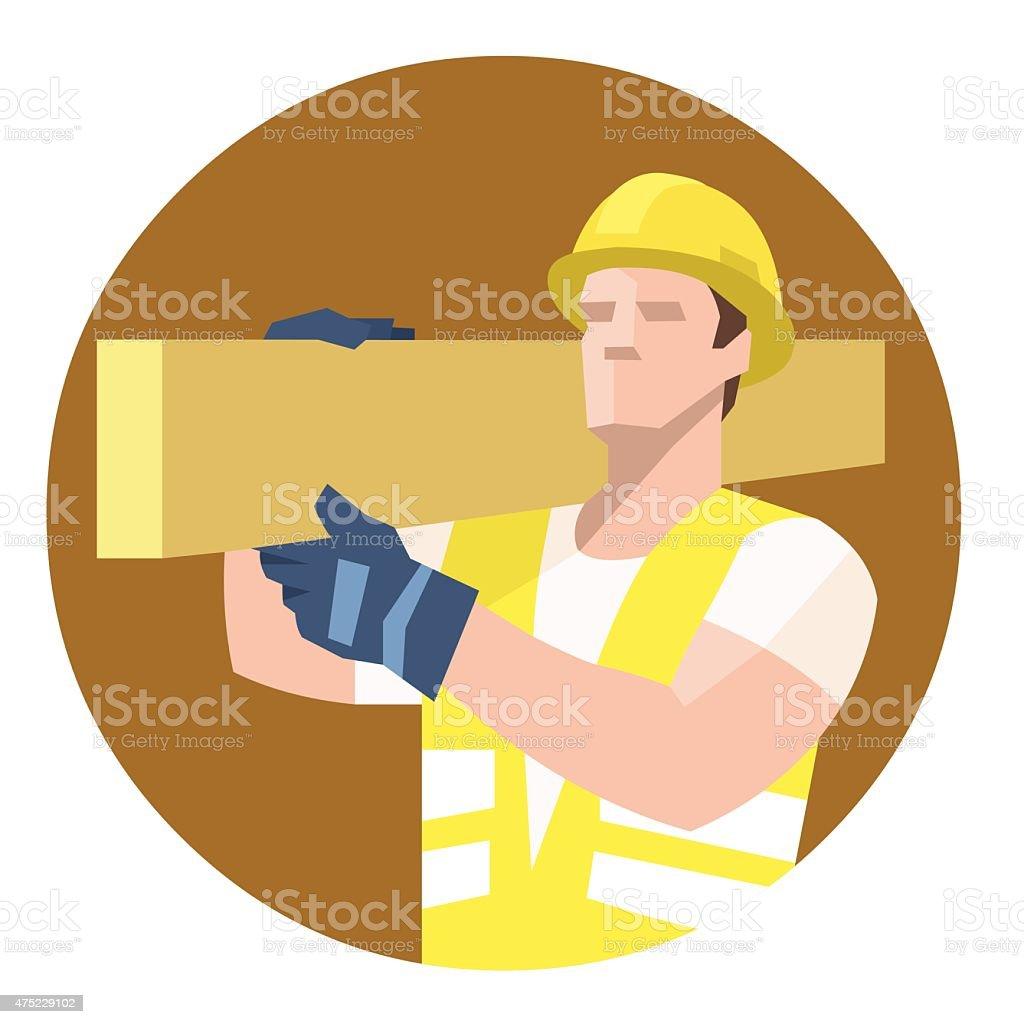 Builder carrying heavy wooden plank vector art illustration