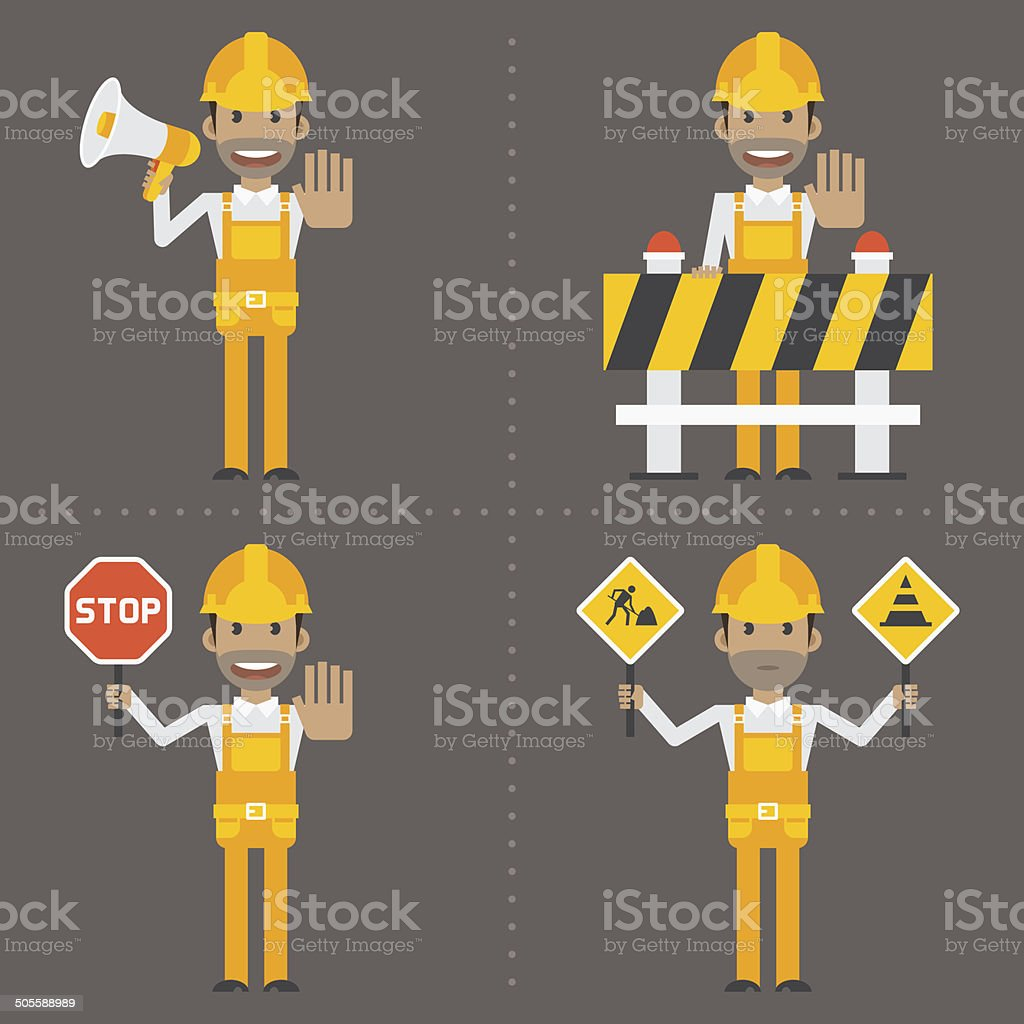 Builder concept prohibiting signs royalty-free stock vector art