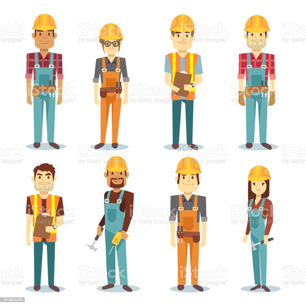 Builder contractor man and female worker vector people character set vector art illustration