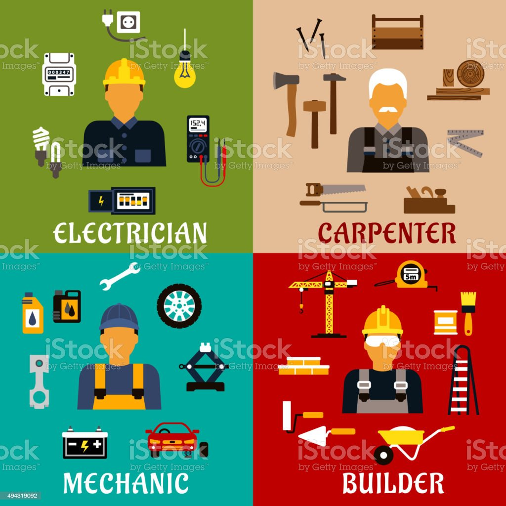 Builder, electrician, mechanic and carpenter icons vector art illustration