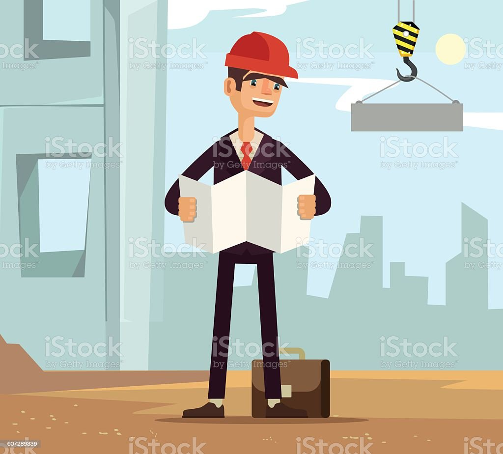 Builder foreman worker character on construction read plane vector art illustration