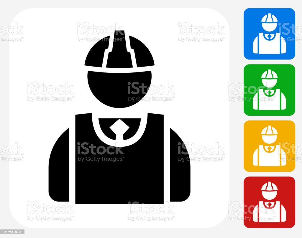 Builder Icon Flat Graphic Design vector art illustration