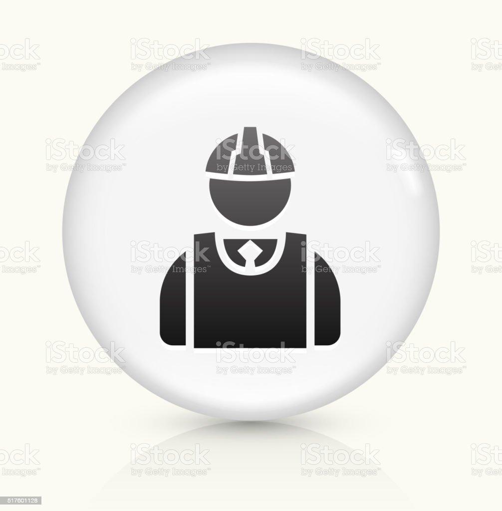 Builder icon on white round vector button vector art illustration