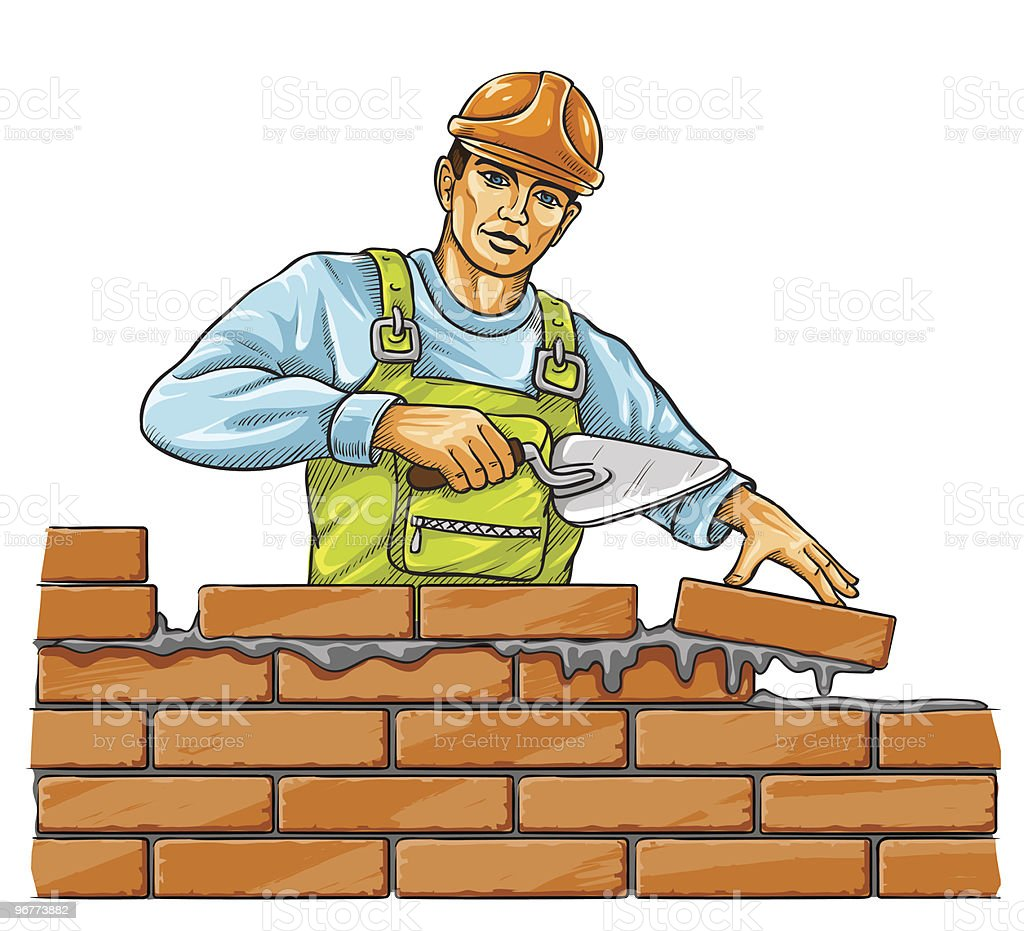 builder man with derby tool building a brick wall royalty-free stock vector art