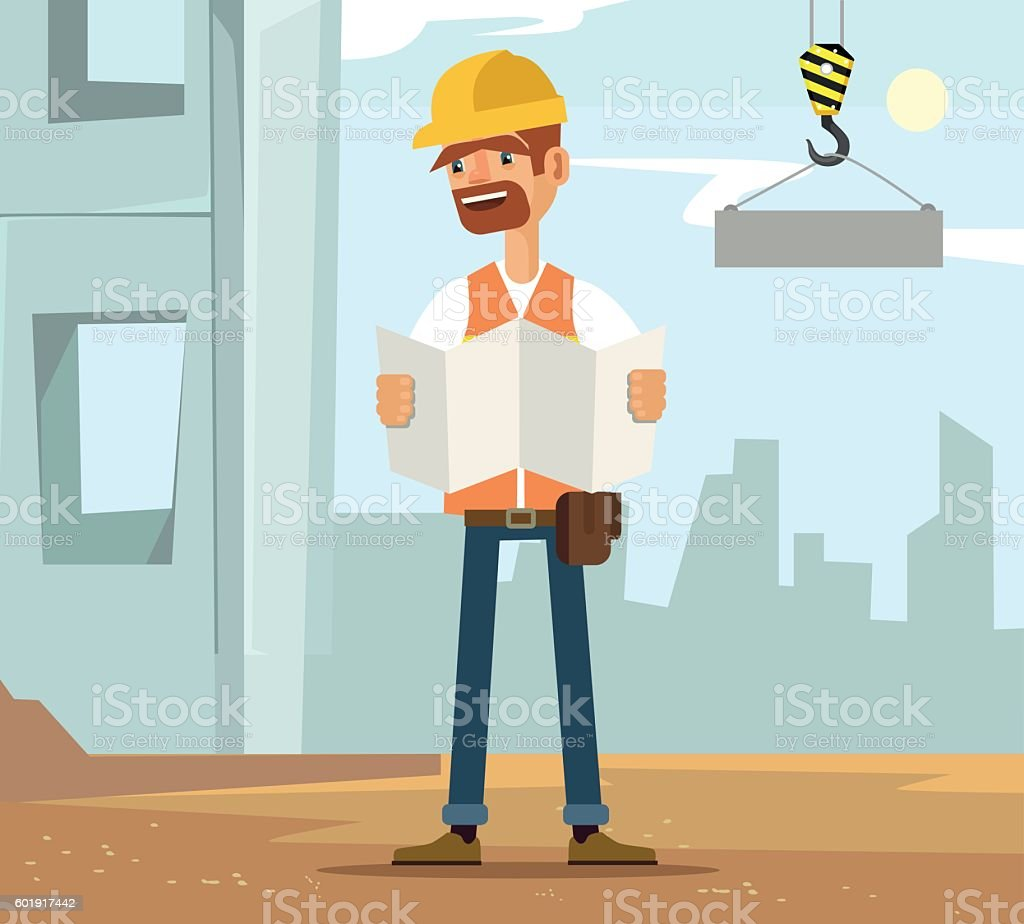 Builder man worker character on construction read plane vector art illustration