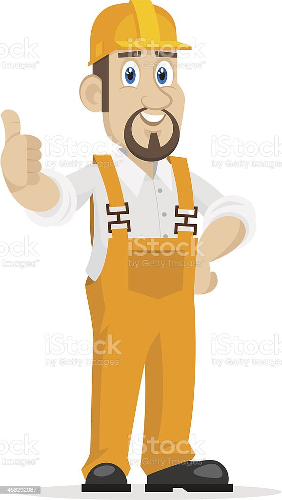 Builder shows thumbs up royalty-free stock vector art