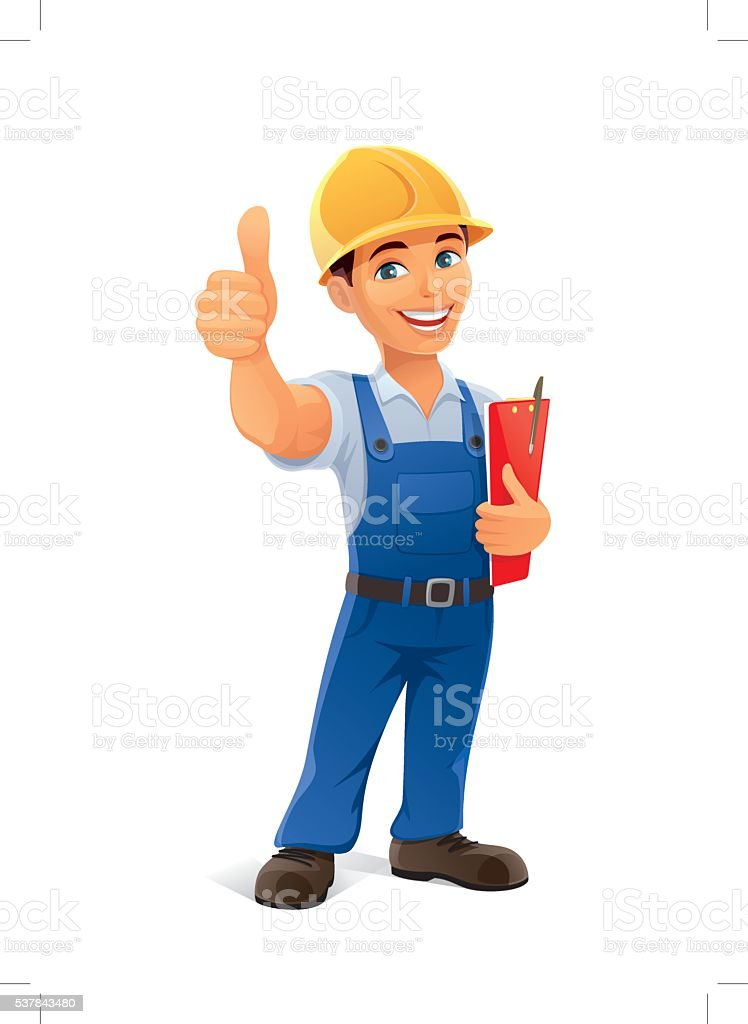 builder with thumb up vector art illustration