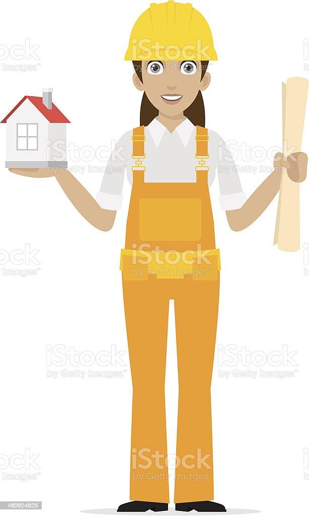 Builder woman keeps house vector art illustration