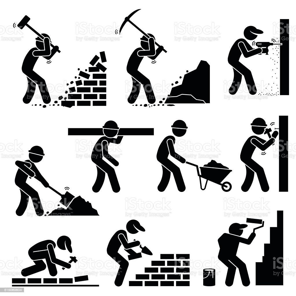 Builders Constructors Workers at Construction Sites vector art illustration
