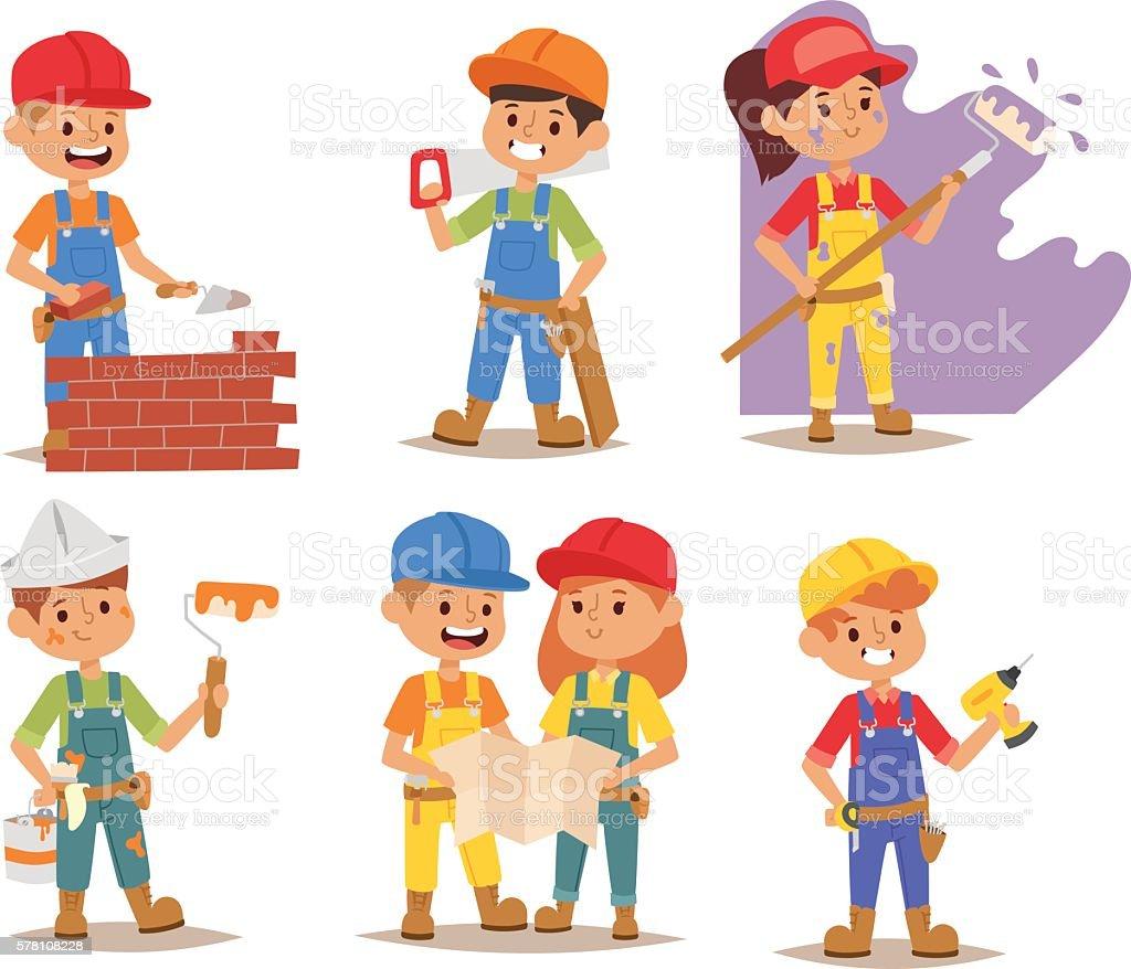 Builders kid vector vector art illustration