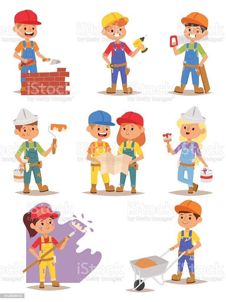 Builders kids vector set. vector art illustration