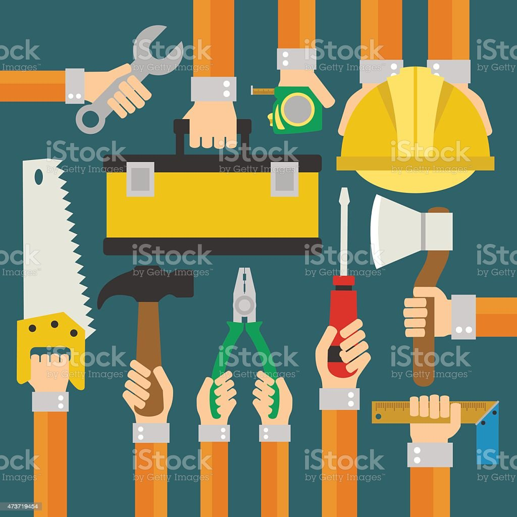Builders Modern flat background with hand vector art illustration