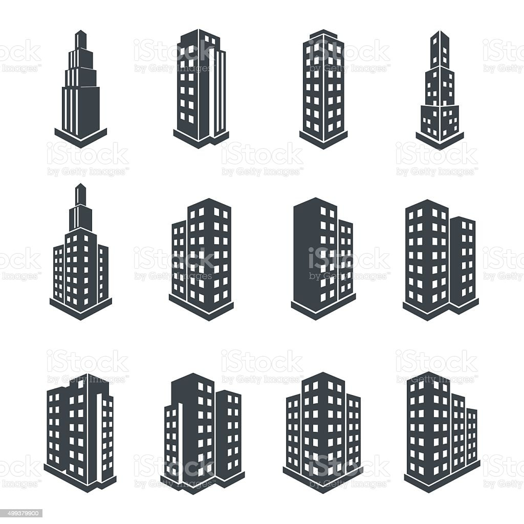 Building 3d Perspective Icons. vector art illustration