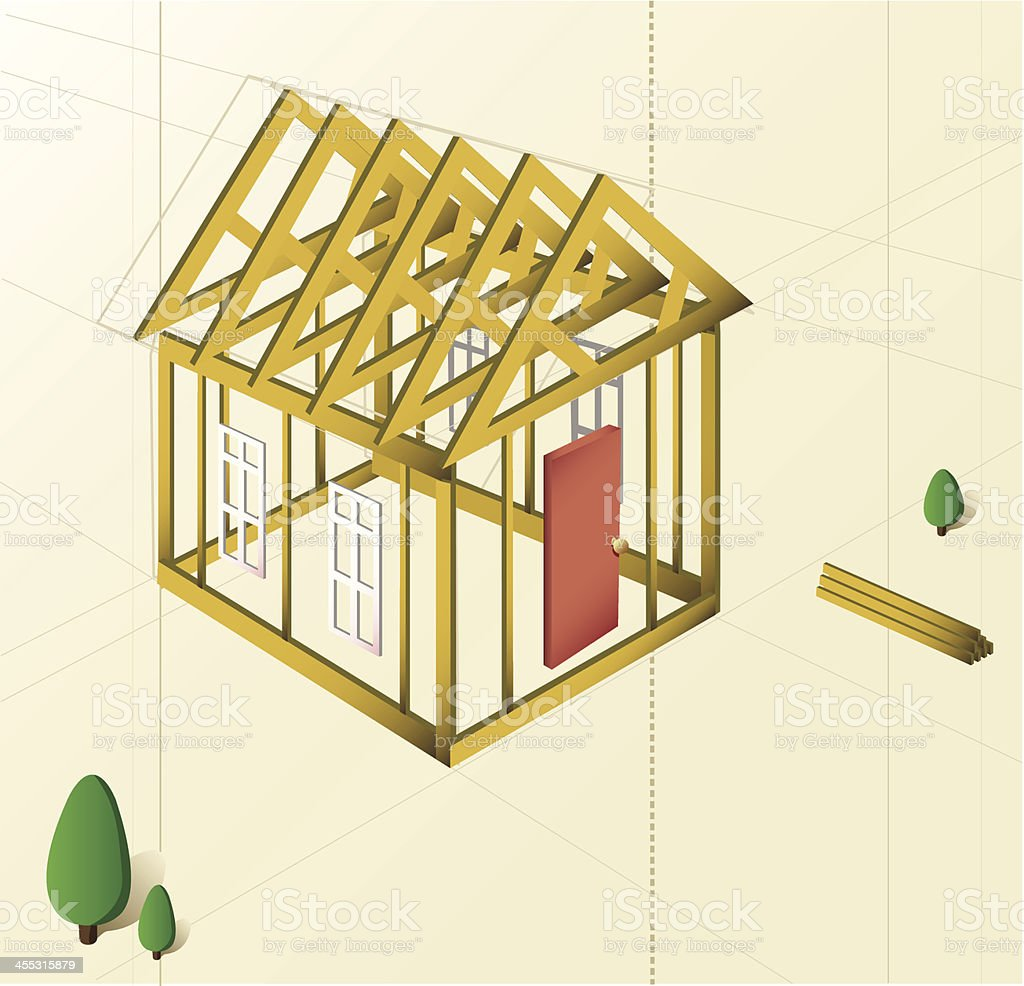 Building a New House [vector] royalty-free stock vector art