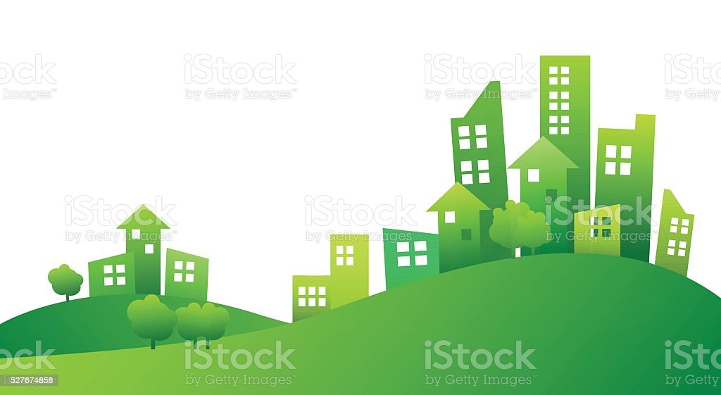 Building and City Illustration green style vector art illustration