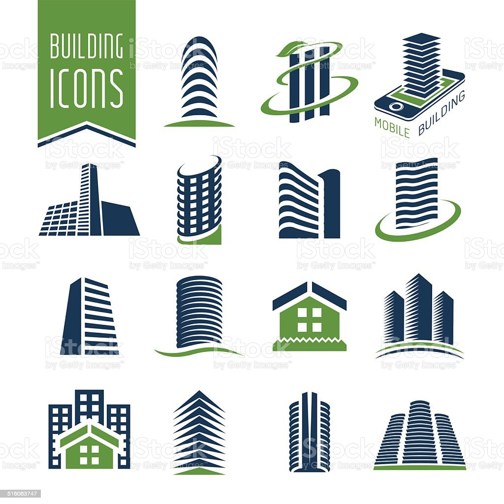 Building and construction icon set vector art illustration