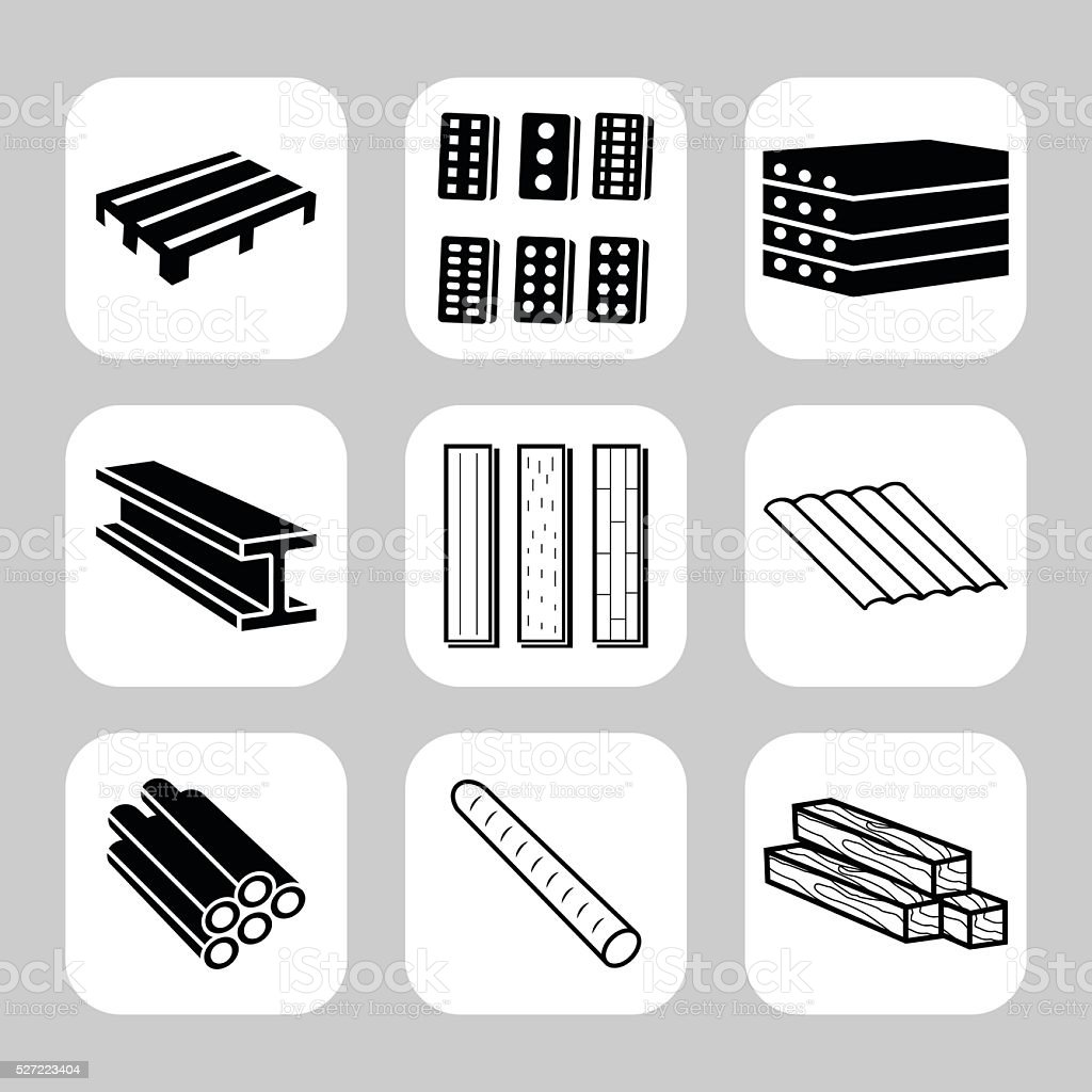 Building and construction materials vector icon set vector art illustration