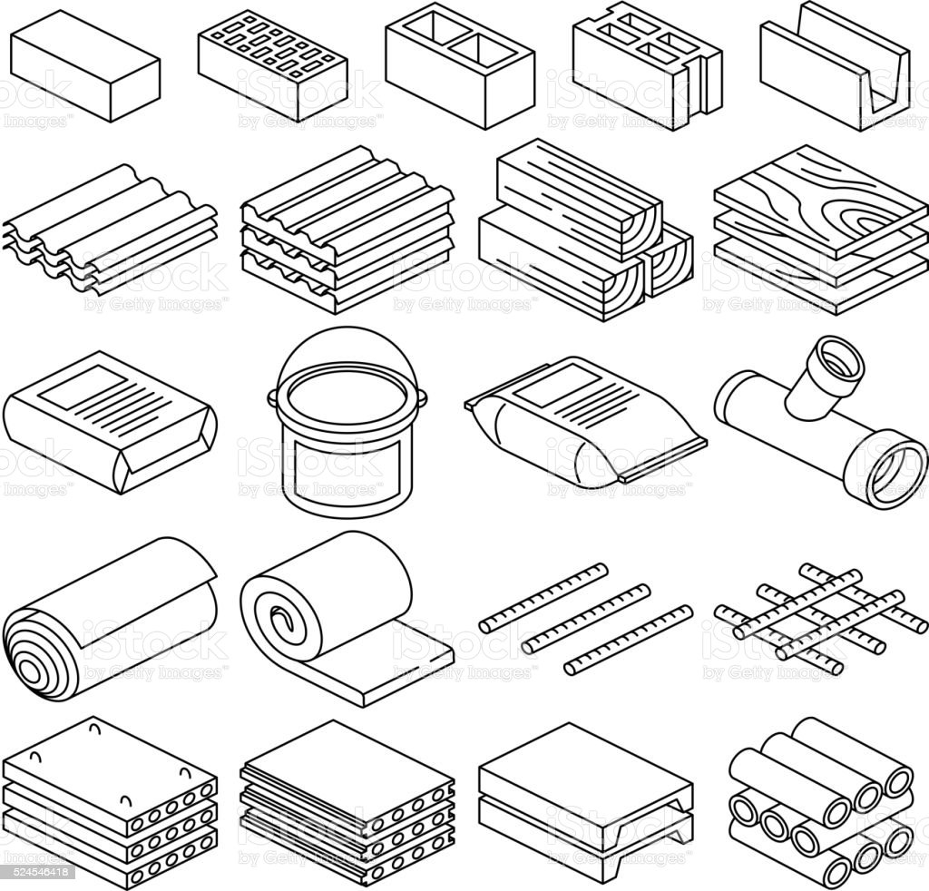 Building and construction materials vector linear icons vector art illustration