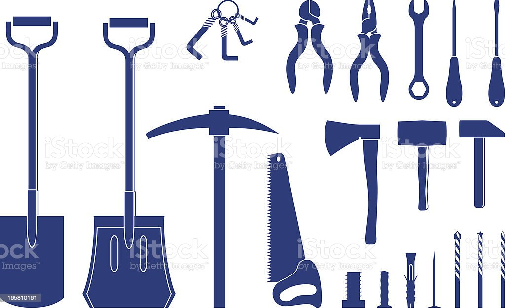 Building and Construction Tools icons vector art illustration