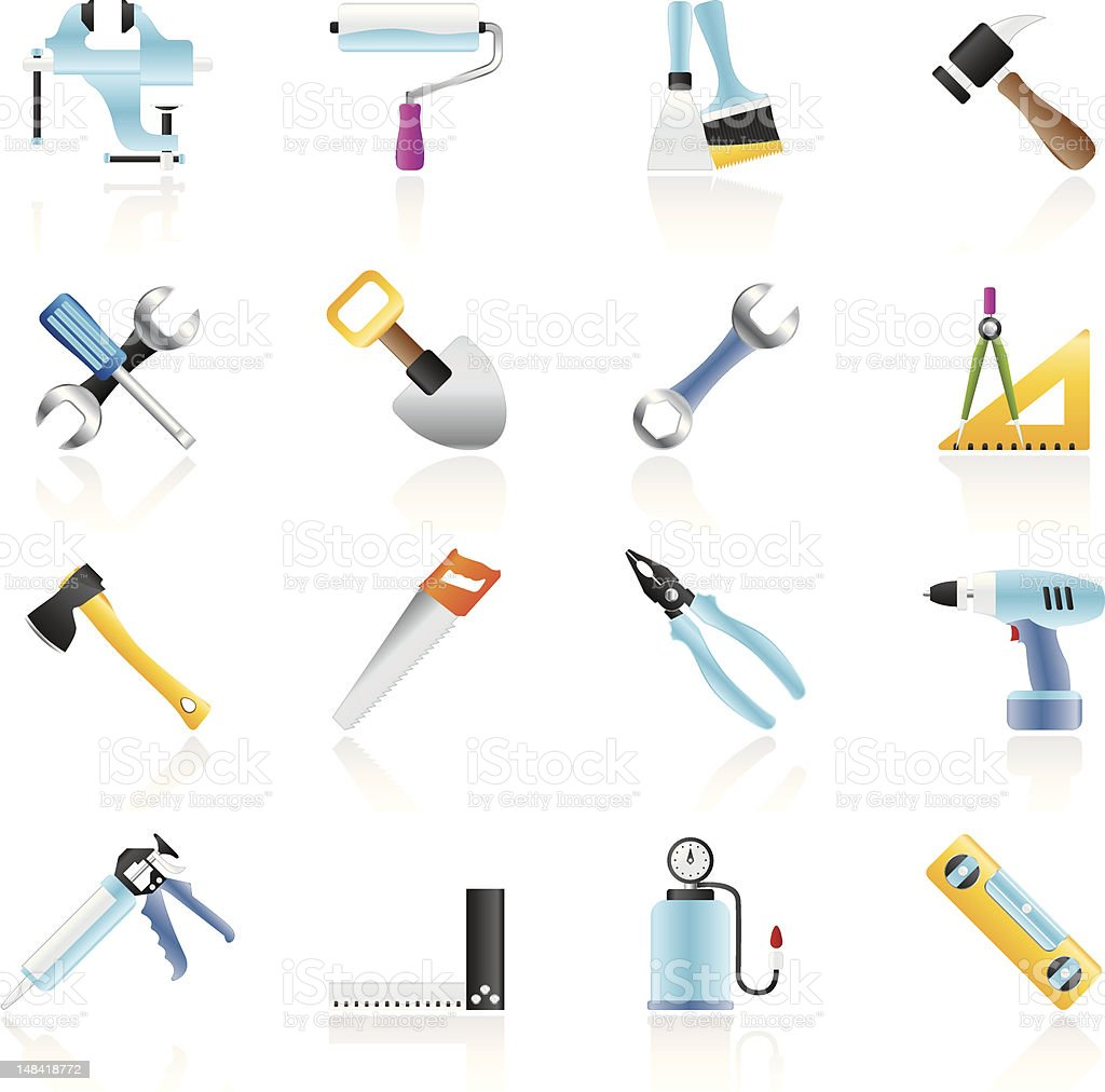 Building and Construction work tool icons vector art illustration