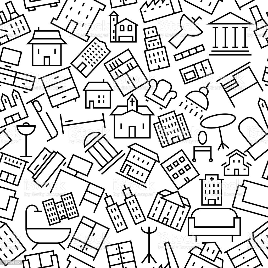 Building and Furniture Hand Drawn Icon Pattern vector art illustration