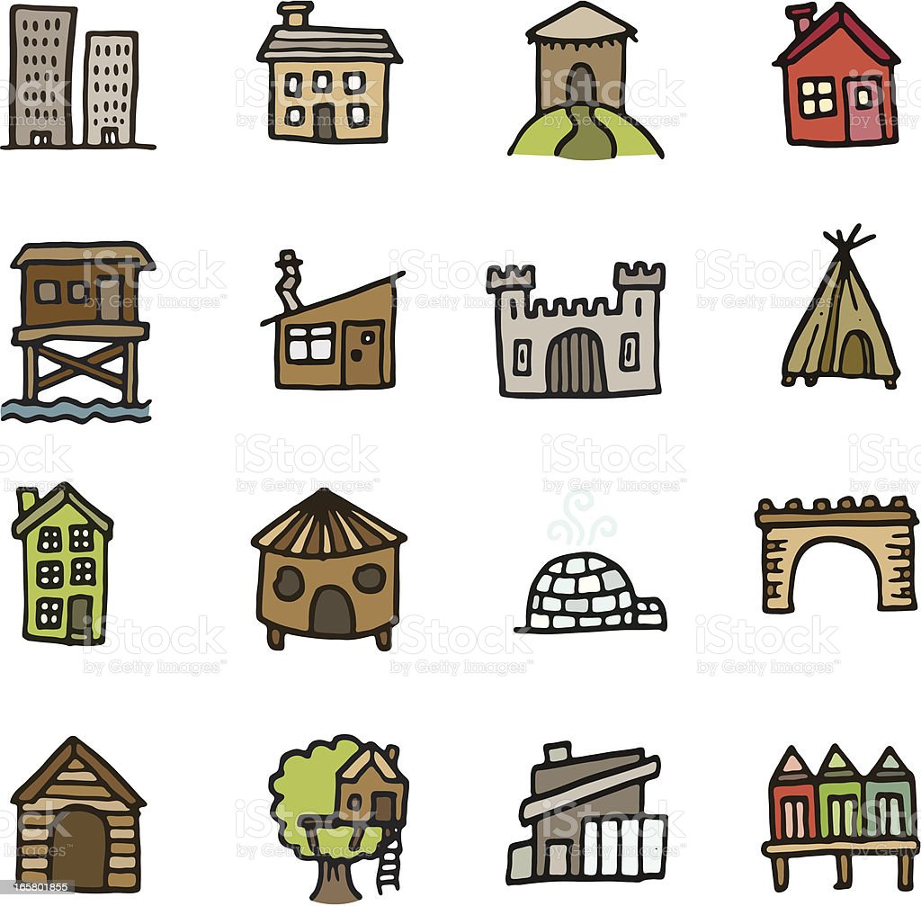 Building and home doodle icon set vector art illustration