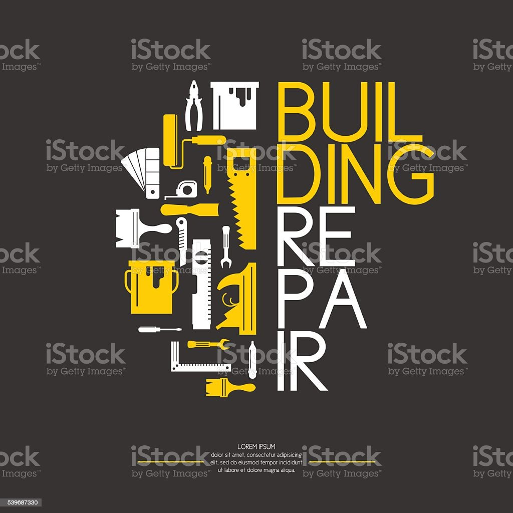 Building and house repair tools. vector art illustration