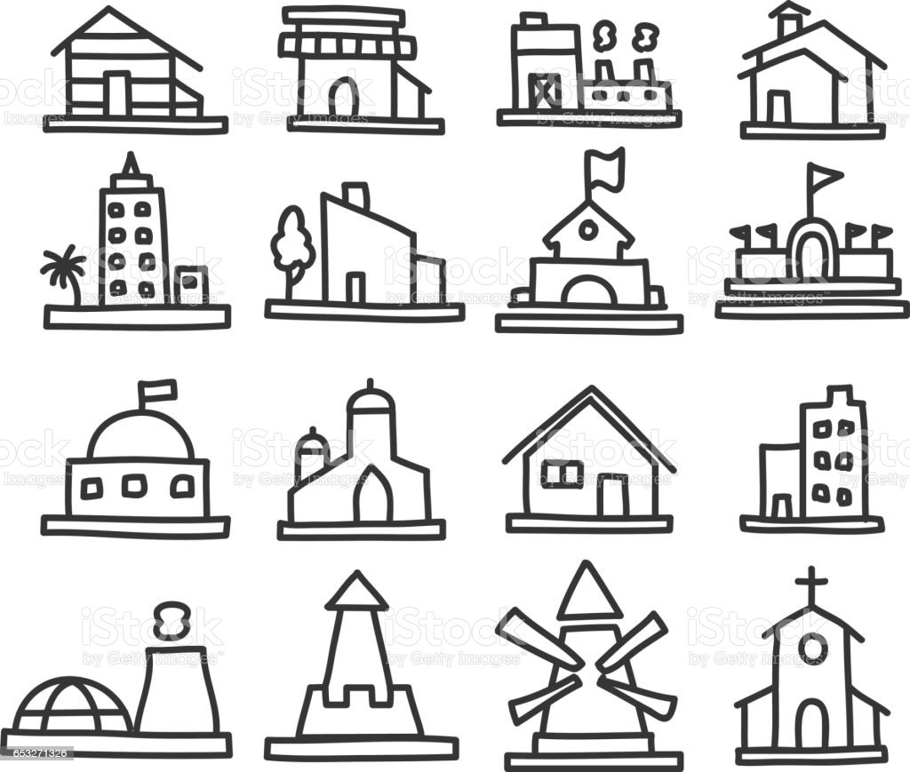 building and real estate icons hand drawn vector art illustration