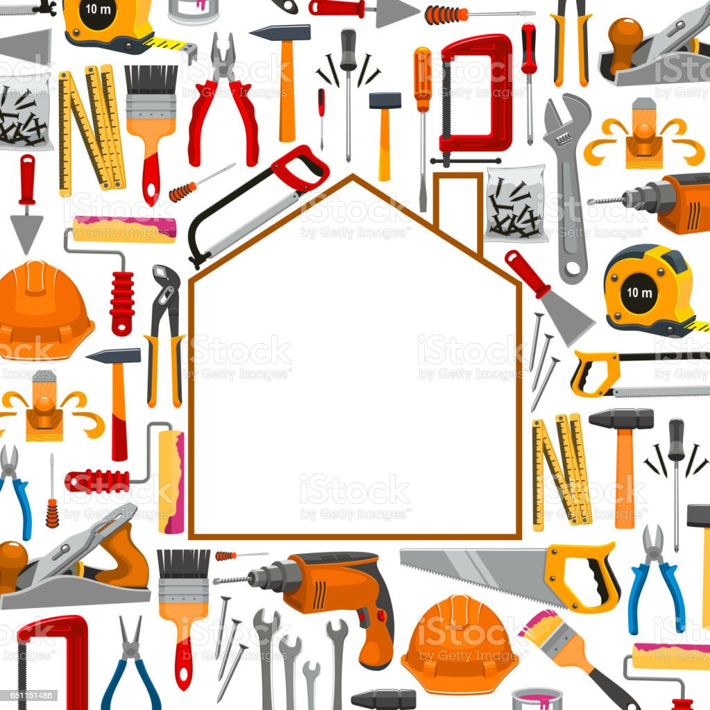 Poster design tools - Building And Repair Work Tools Poster Royalty Free Stock Vector Art