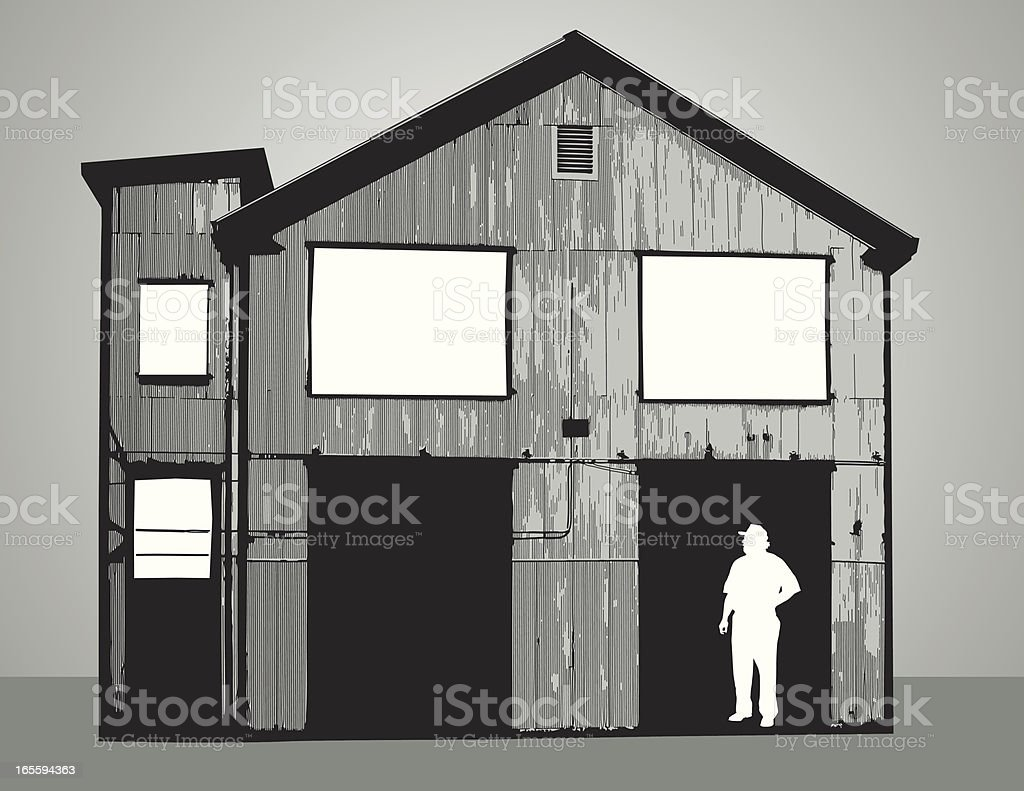 Building and silhouette royalty-free stock vector art