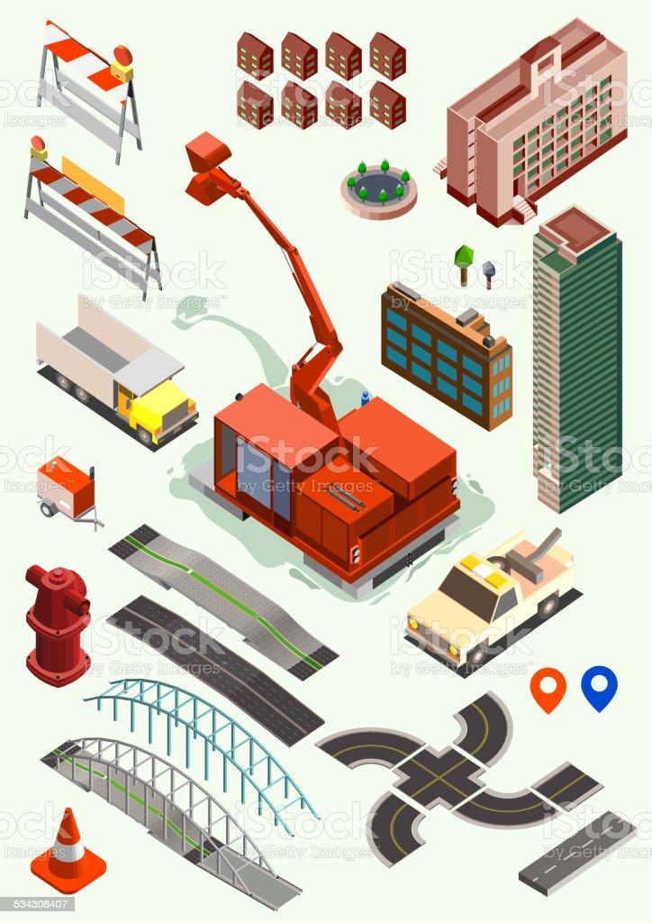 building and transportation isometric set. road, crawler, building vector art illustration