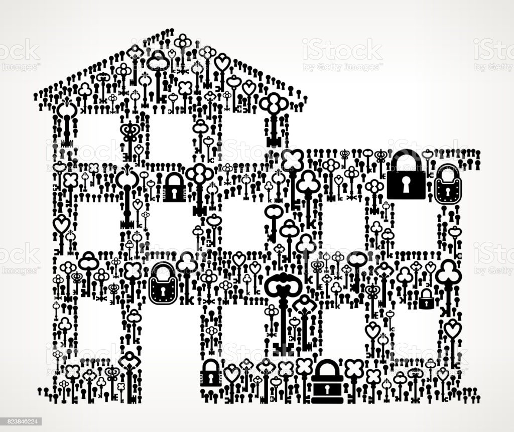 Building  Antique Keys Black and White Vector Pattern vector art illustration