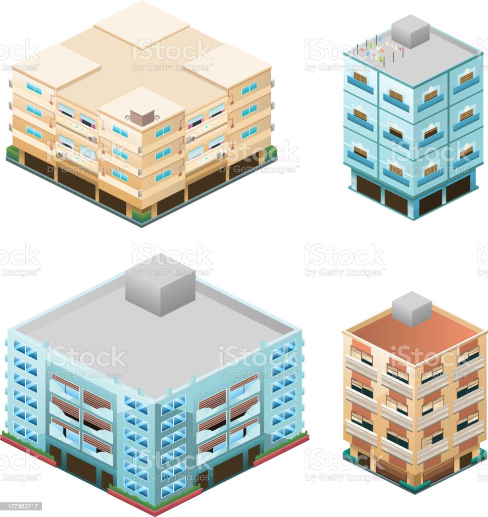 Building apartment house construction condo residence tower penthouse collection royalty-free stock vector art