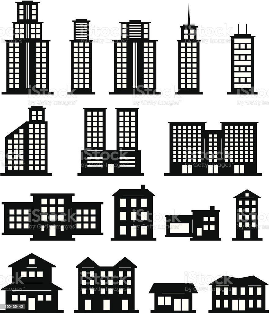 Building Black and White set 1 vector art illustration