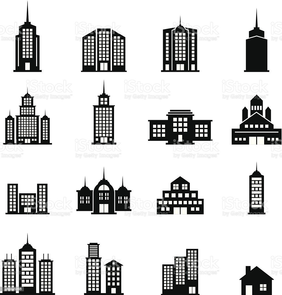 Building Black and White set 10 royalty-free stock vector art
