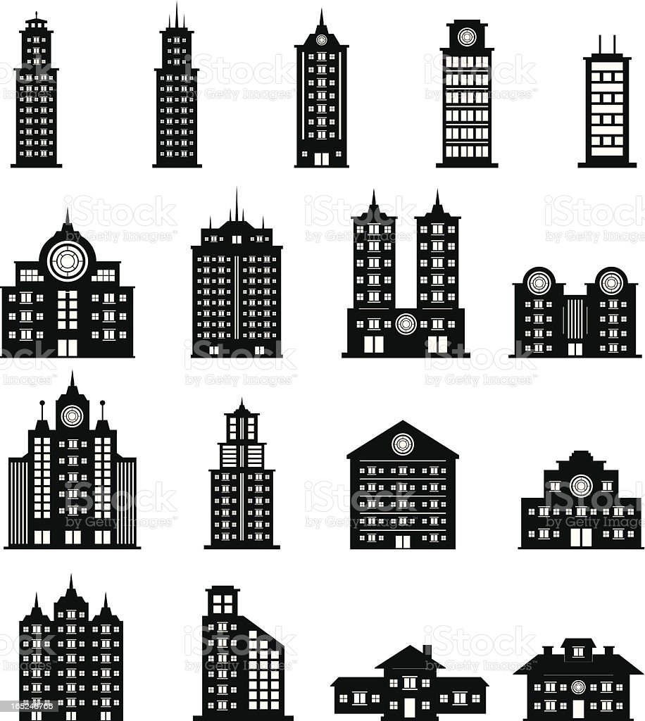 Building Black and White set 5 royalty-free stock vector art
