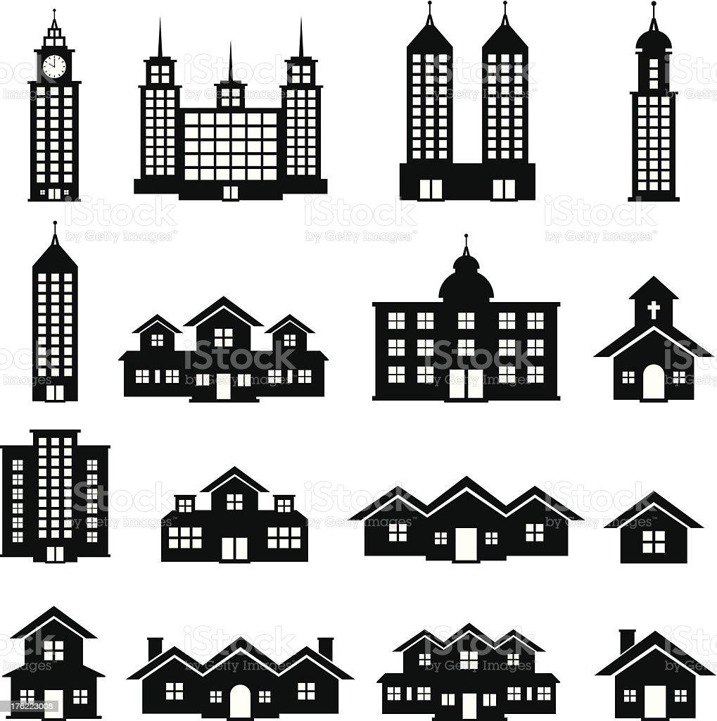 Building Black and White set 6 vector art illustration